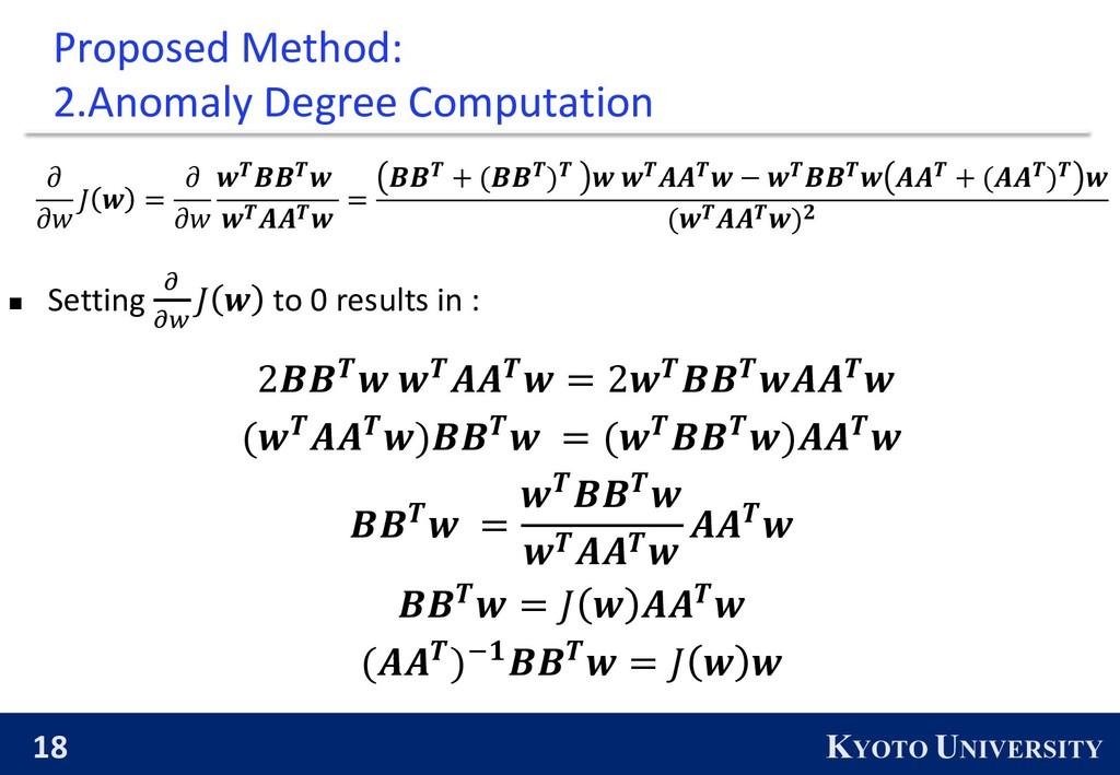 18 KYOTO UNIVERSITY Proposed Method: 2.Anomaly ...