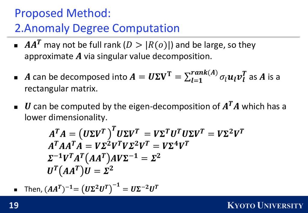 19 KYOTO UNIVERSITY Proposed Method: 2.Anomaly ...