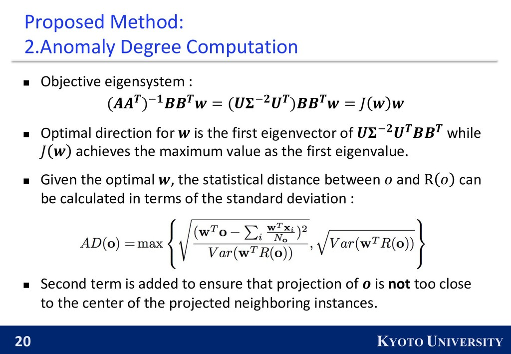 20 KYOTO UNIVERSITY Proposed Method: 2.Anomaly ...