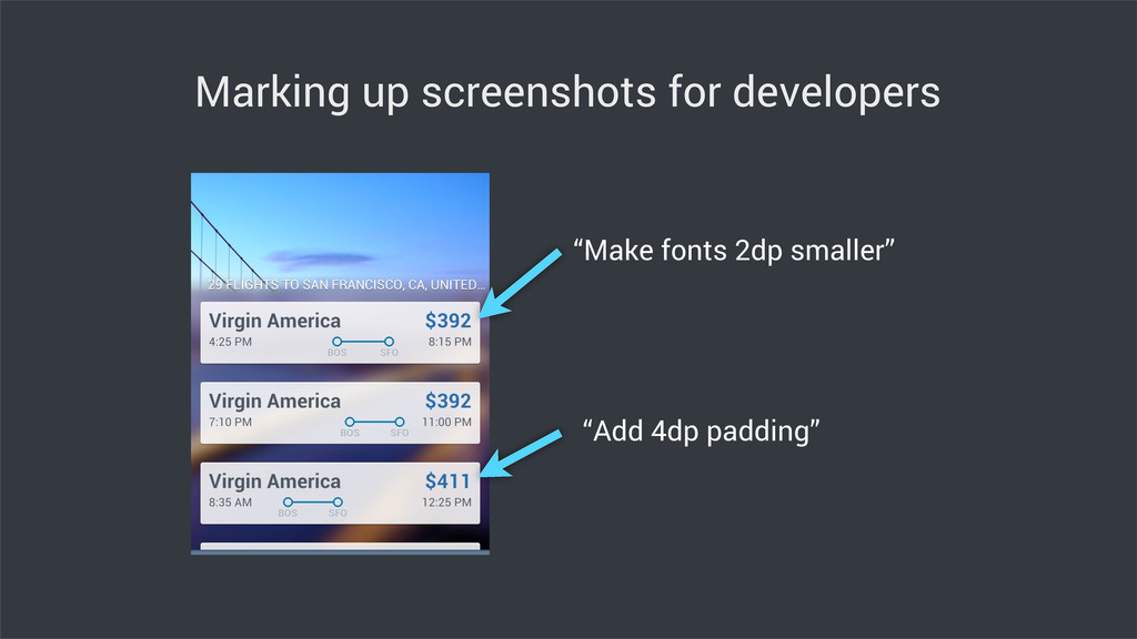 "Marking up screenshots for developers ""Make fon..."