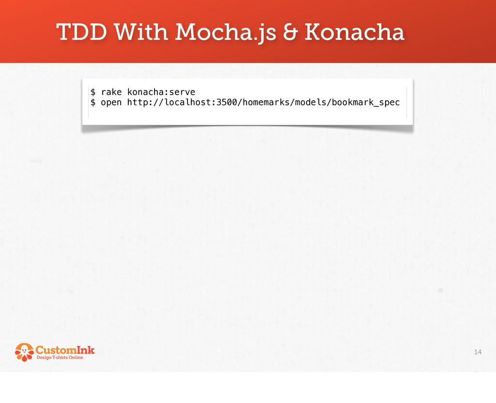 14 TDD With Mocha.js & Konacha $ rake konacha:s...