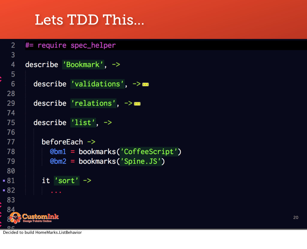 Lets TDD This... 20 Decided to build HomeMarks....