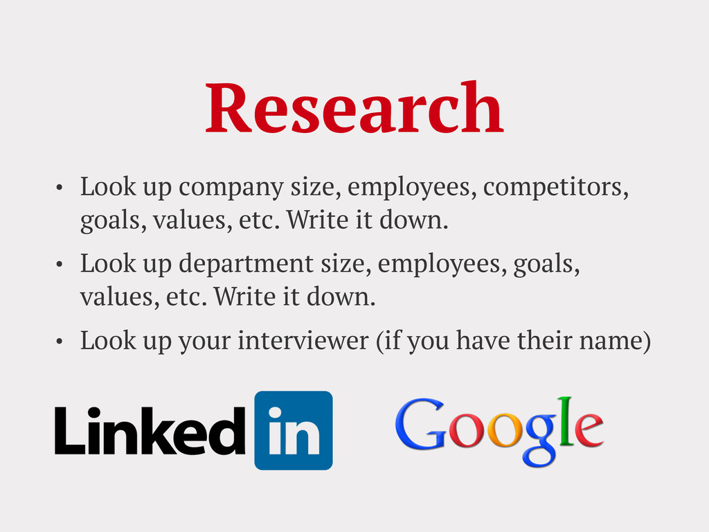 Research • Look up company size, employees, com...