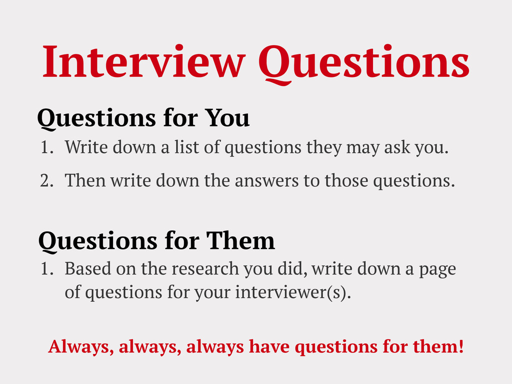 Interview Questions 1. Write down a list of que...