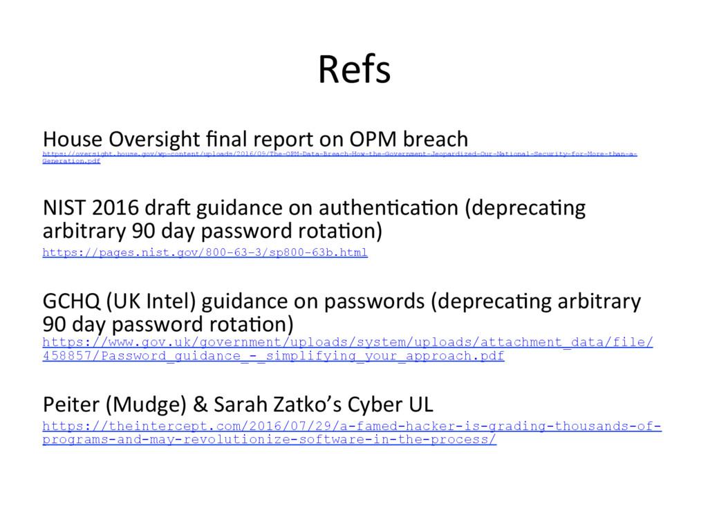 Refs House Oversight final report on OPM breach ...