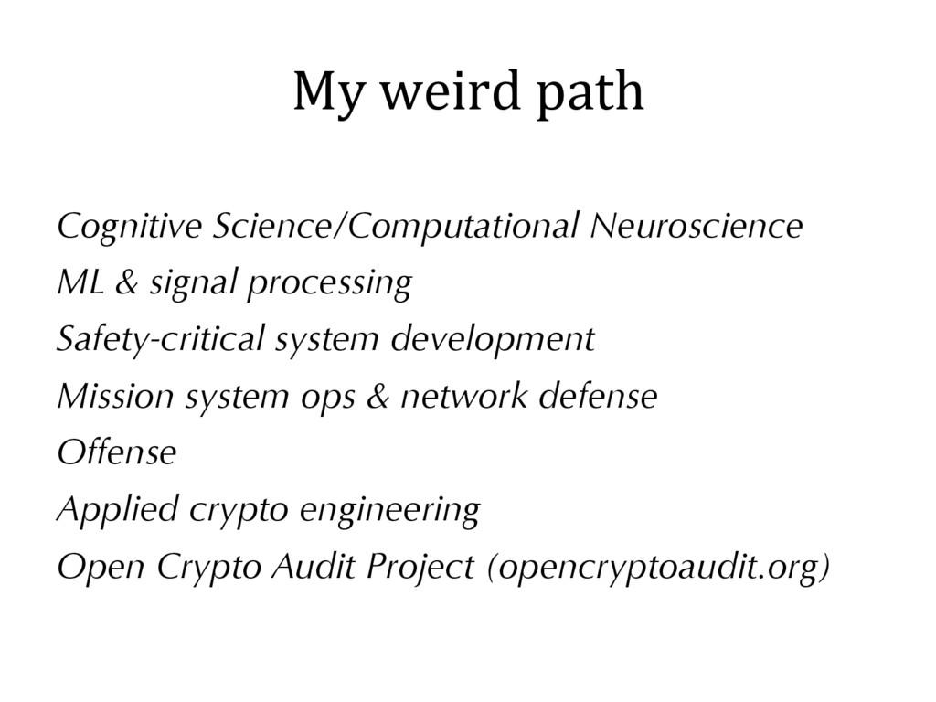 Cognitive Science/Computational Neuroscience ML...