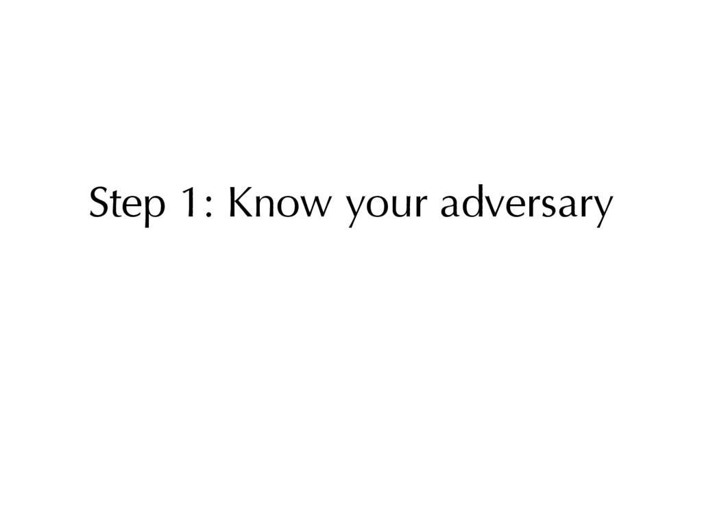 Step 1: Know your adversary