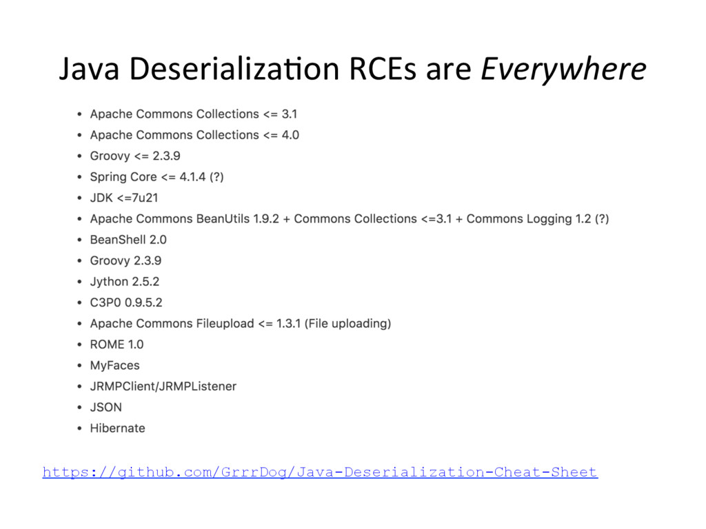 Java Deserializa,on RCEs are Everywhere https:/...