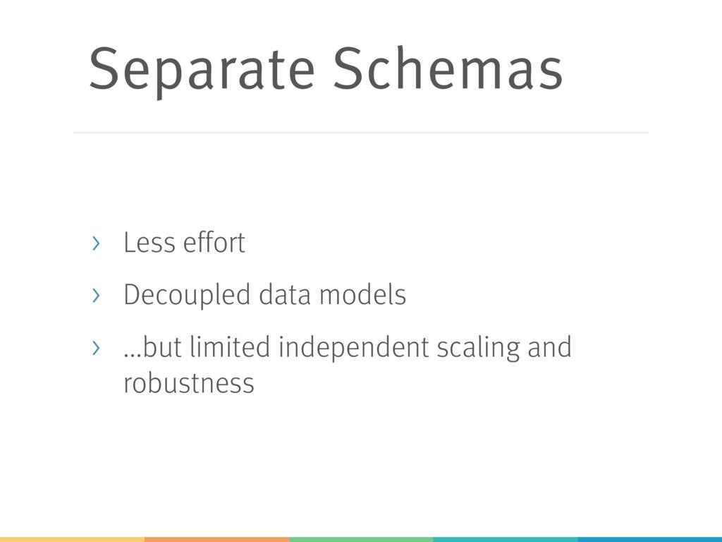 Separate Schemas > Less effort > Decoupled data...