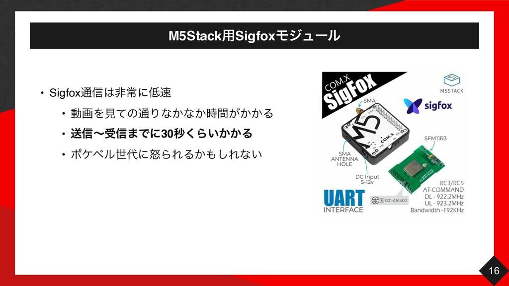 M5Stack༻SigfoxϞδϡʔϧ 16 • Sigfox௨৴ඇৗʹ • ಈըΛݟͯ...