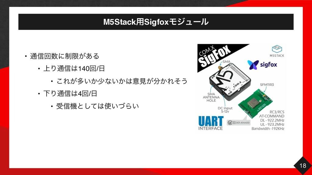M5Stack༻SigfoxϞδϡʔϧ 18 • ௨৴ճʹ੍ݶ͕͋Δ • ্Γ௨৴140ճ...