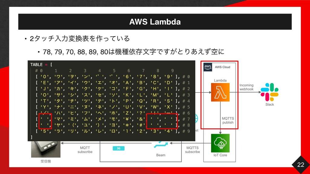 AWS Lambda 22 • 2λονೖྗมදΛ࡞͍ͬͯΔ • 78, 79, 70, 8...