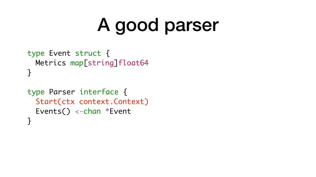 A good parser type Event struct { Metrics map[s...