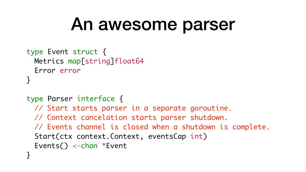 An awesome parser type Event struct { Metrics m...