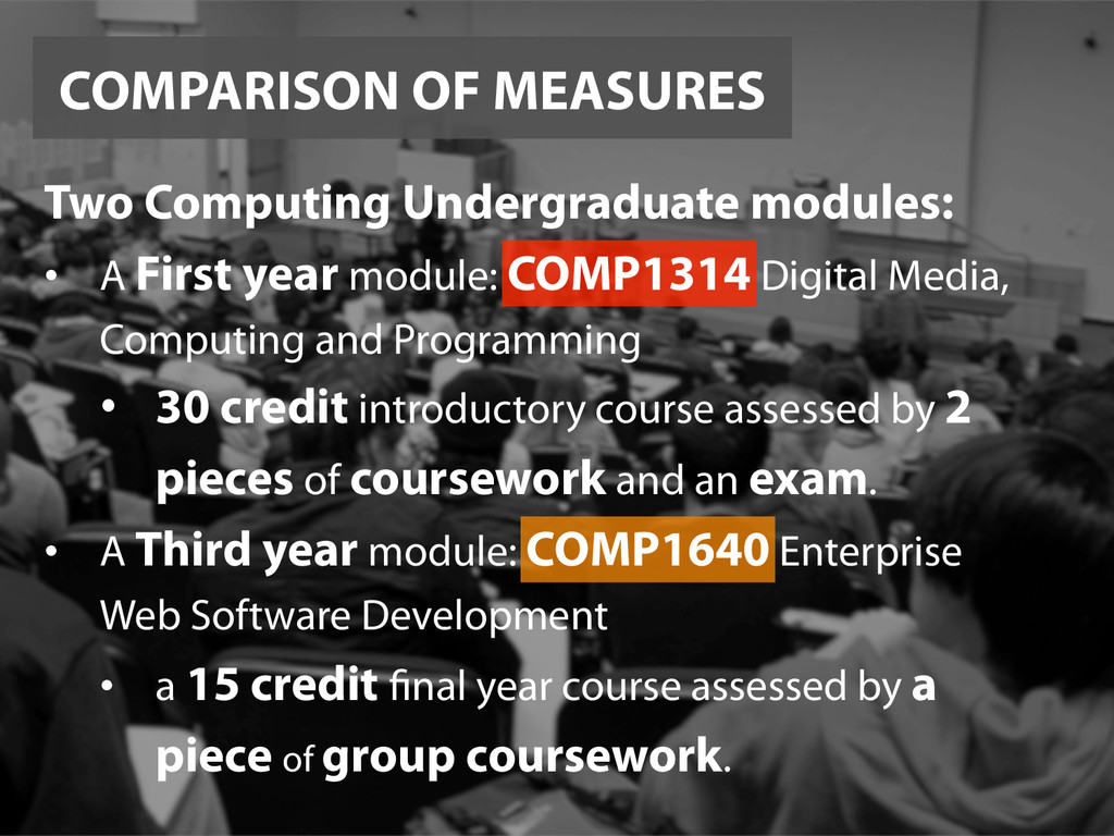 COMPARISON OF MEASURES Two Computing Undergradu...