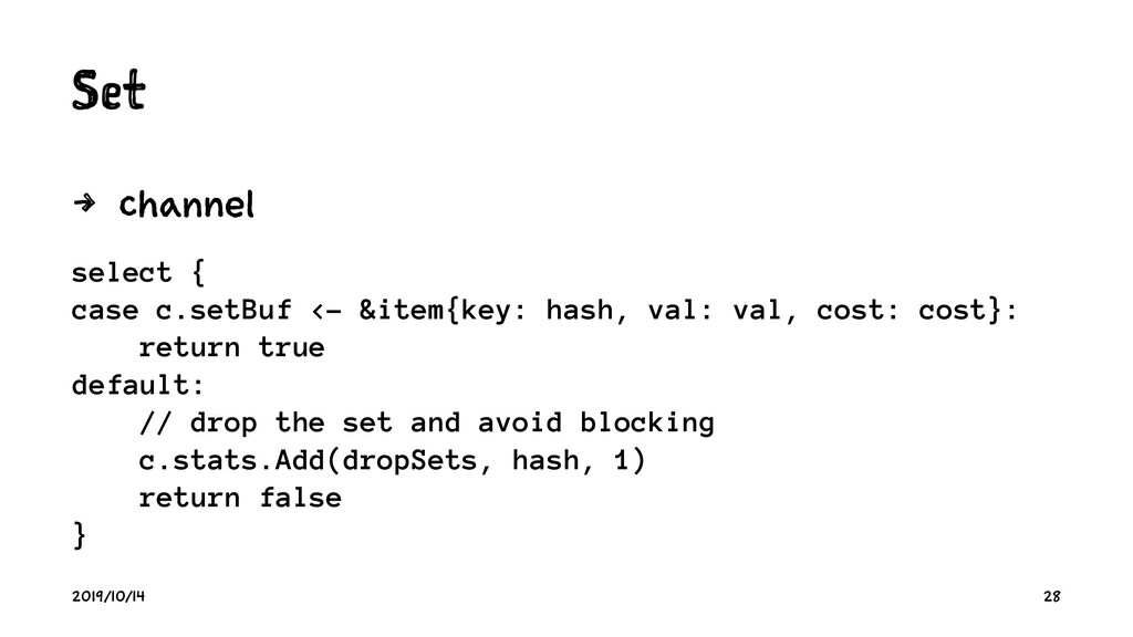 S t 4 c select { case c.setBuf <- &item{key: ha...