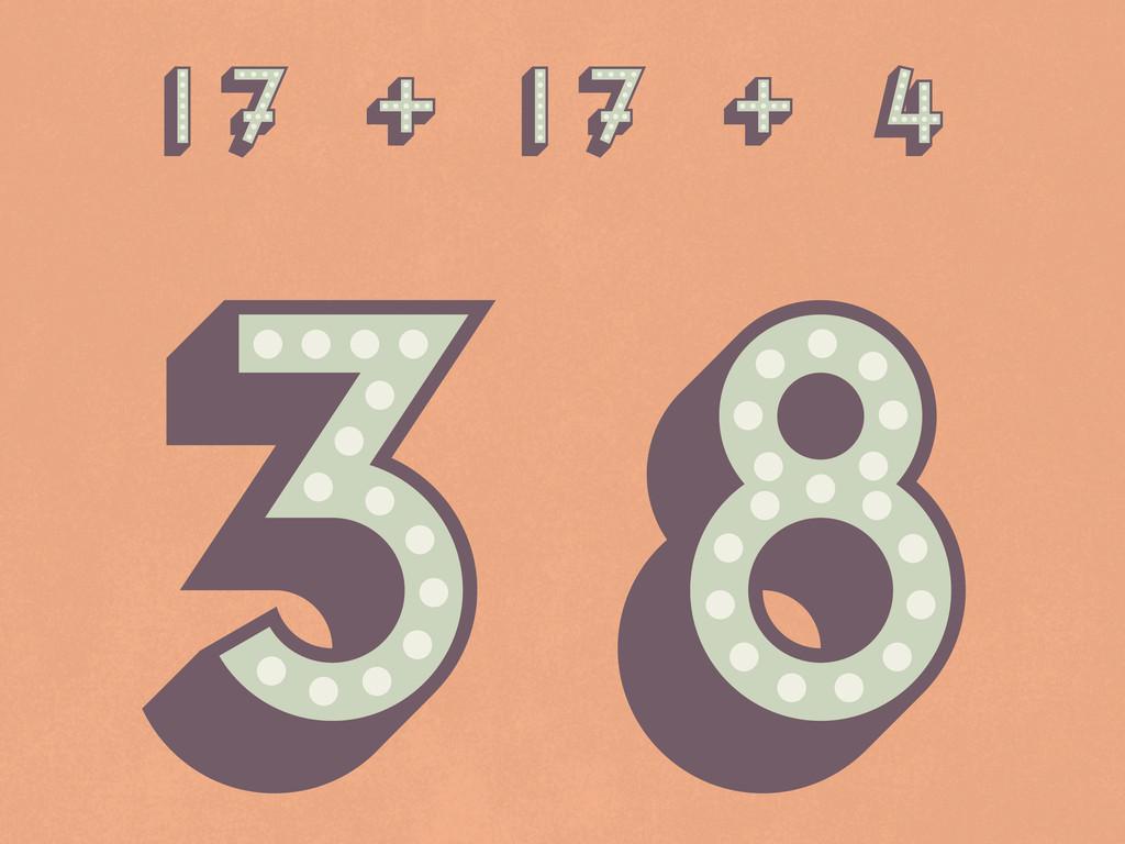 17 + 17 + 4 38 17 + 17 + 4 38 17 + 17 + 4 38