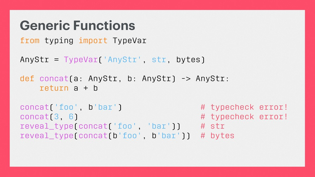 Generic Functions from typing import TypeVar An...