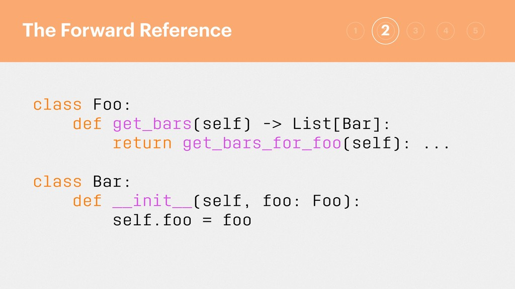 class Foo: def get_bars(self) -> List[Bar]: ret...