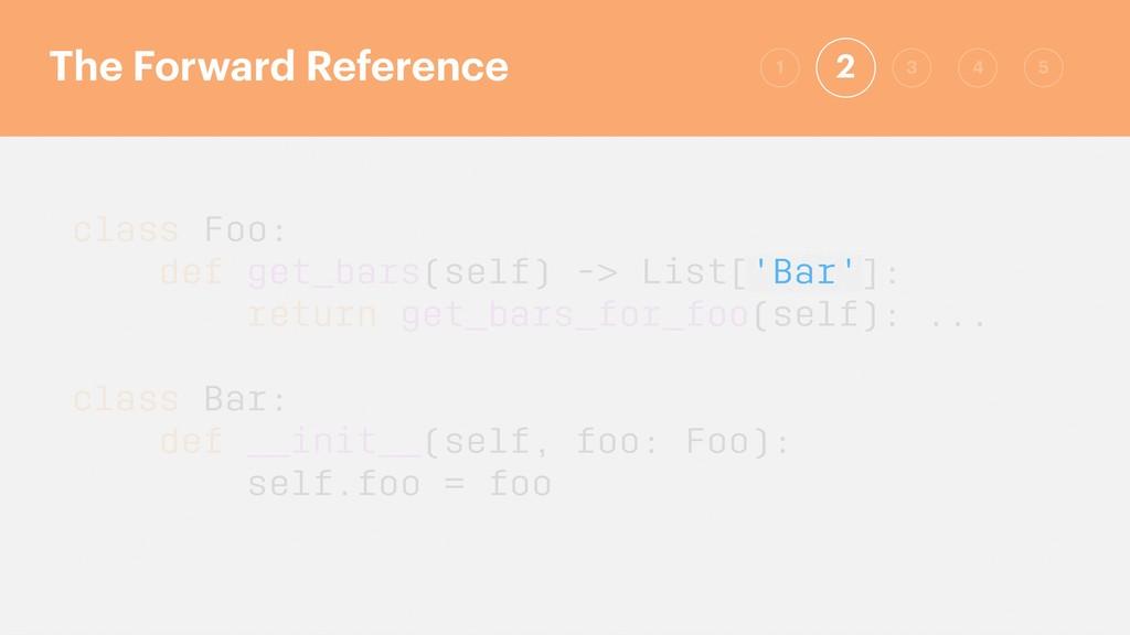 class Foo: def get_bars(self) -> List['Bar']: r...