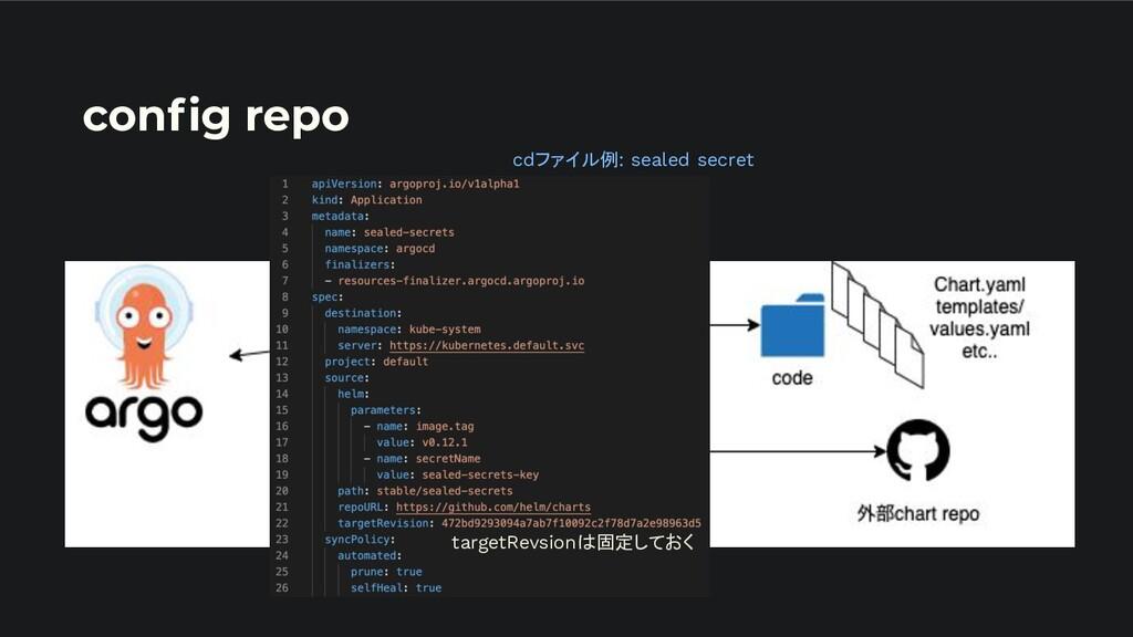 config repo cdファイル例: sealed secret targetRevsion...