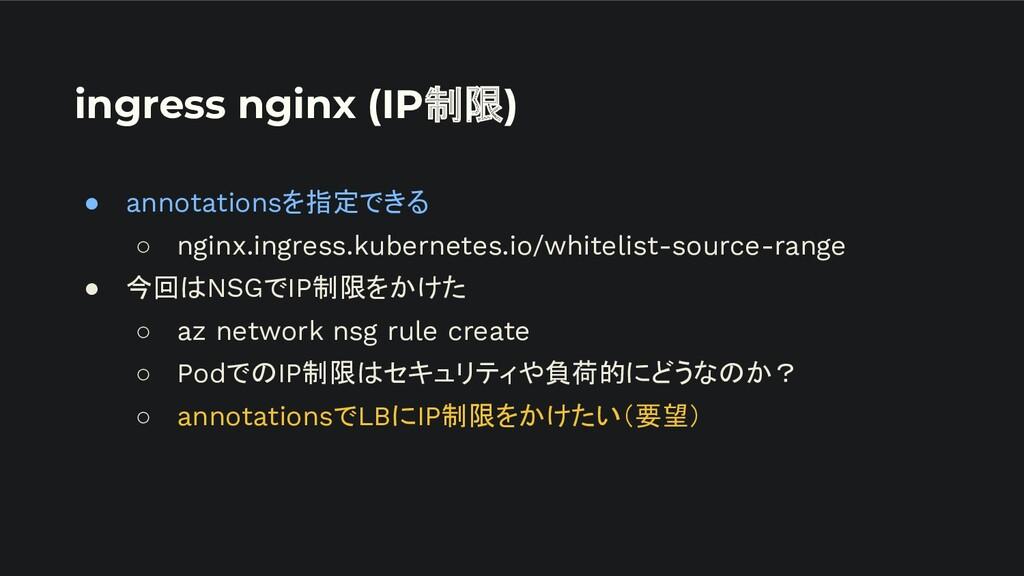 ingress nginx (IP制限) ● annotationsを指定できる ○ ngin...