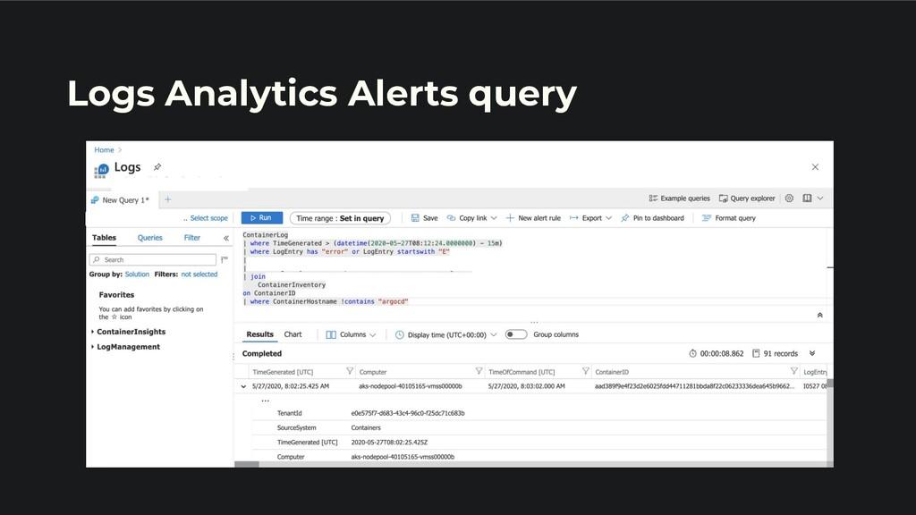 Logs Analytics Alerts query