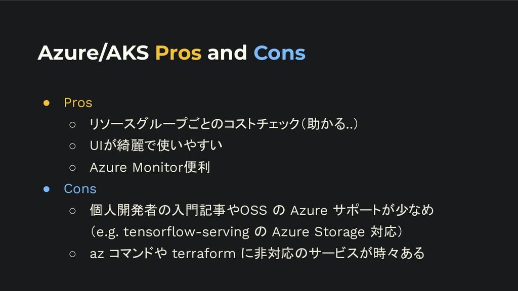 Azure/AKS Pros and Cons ● Pros ○ リソースグループごとのコスト...