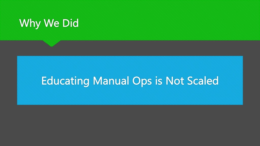 Why We Did Educating Manual Ops is Not Scaled
