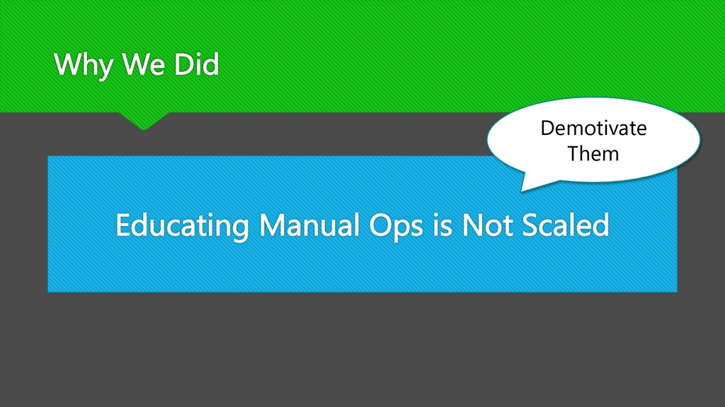 Why We Did Educating Manual Ops is Not Scaled D...