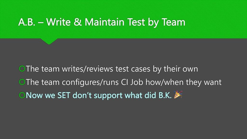 A.B. – Write & Maintain Test by Team šThe team ...