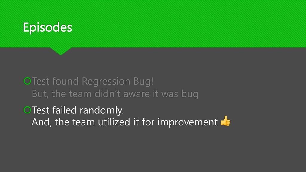 Episodes šTest found Regression Bug! But, the t...