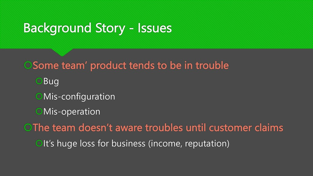 Background Story - Issues šSome team' product t...