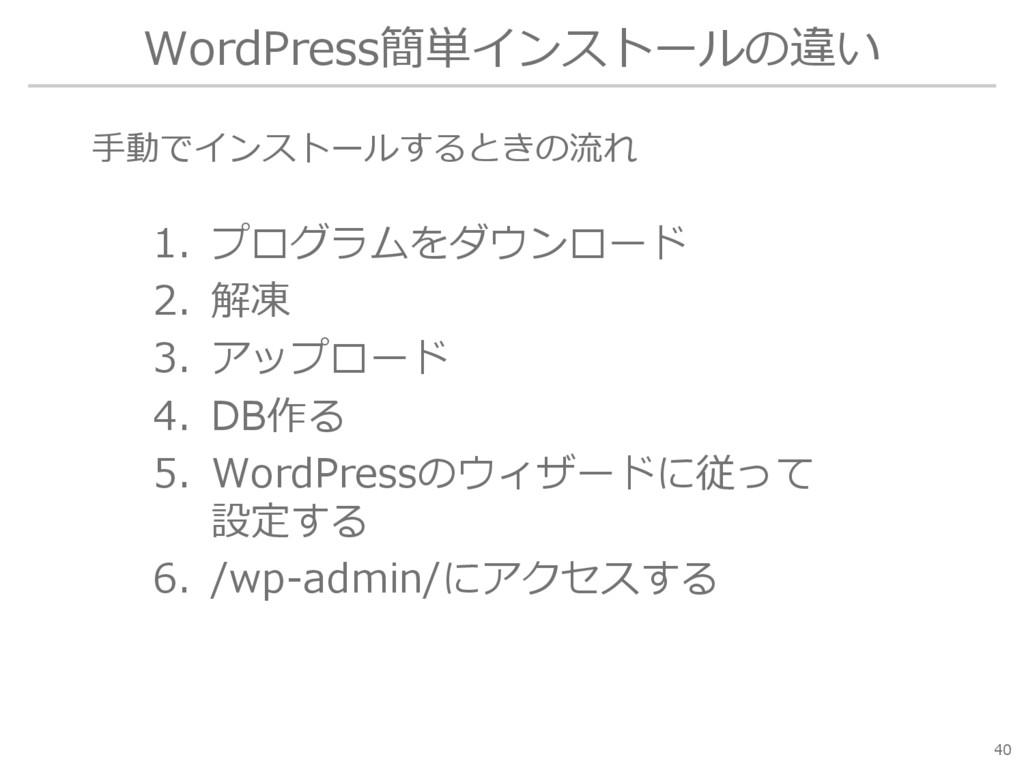 WordPress簡単インストールの違い 1. プログラムをダウンロード 2. 解凍 3. ア...