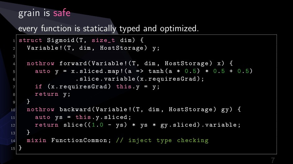 grain is safe every function is statically type...