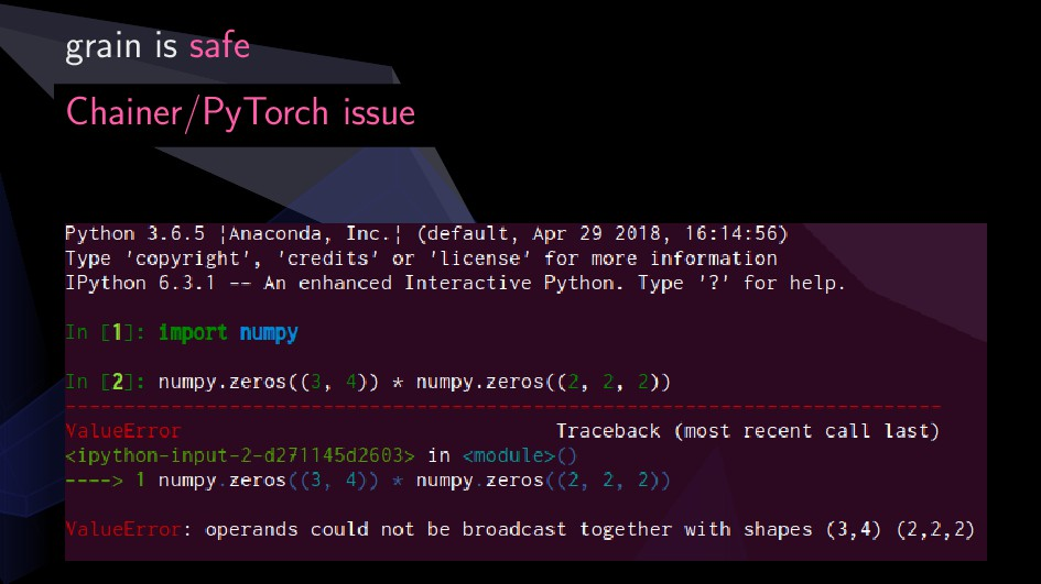 grain is safe Chainer/PyTorch issue 8