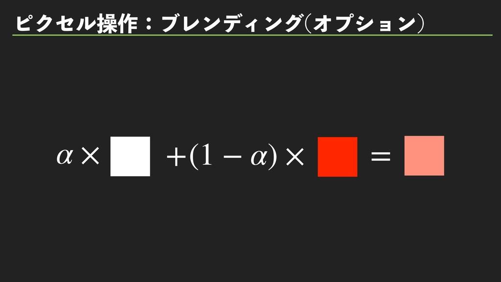ϐΫηϧૢ࡞ɿϒϨϯσΟϯά Φϓγϣϯ  α × +(1 − α) × =