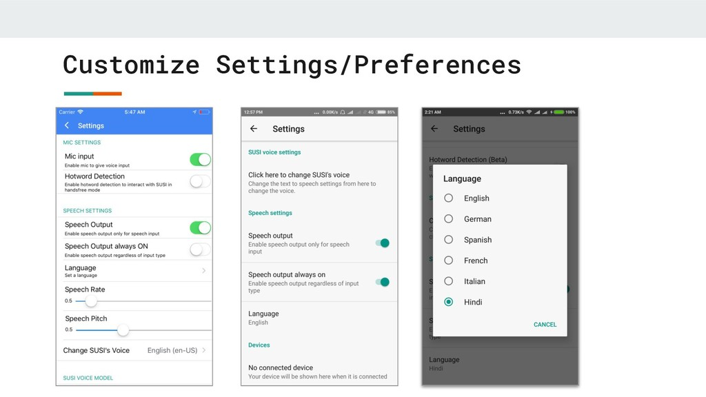 Customize Settings/Preferences
