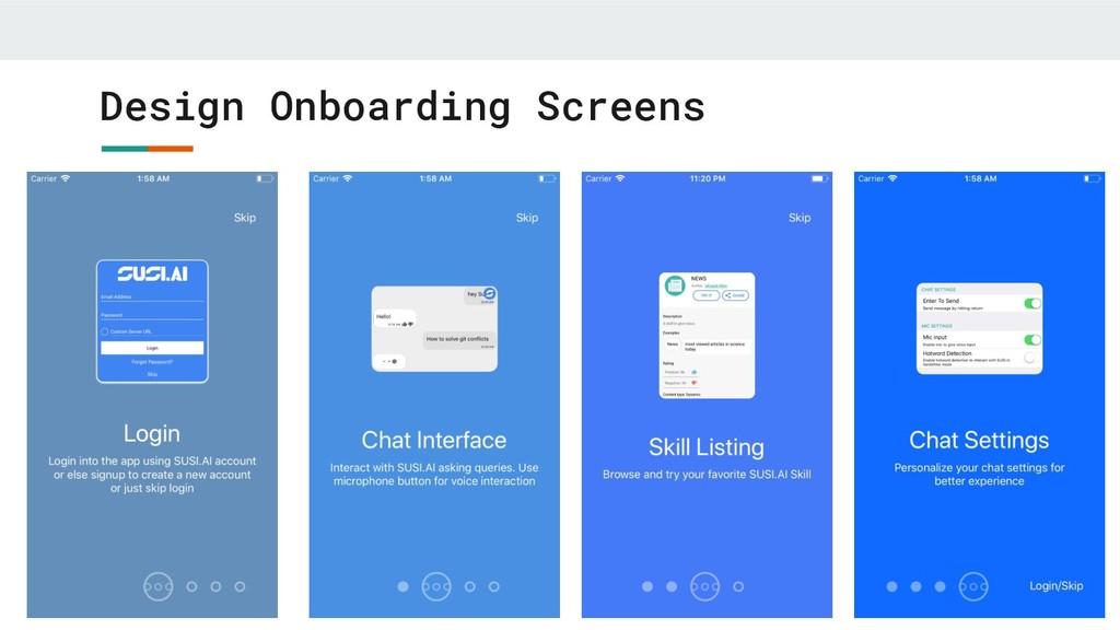 Design Onboarding Screens
