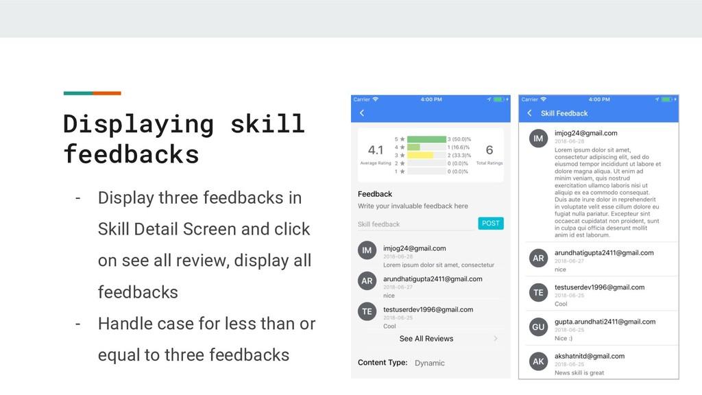 Displaying skill feedbacks - Display three feed...