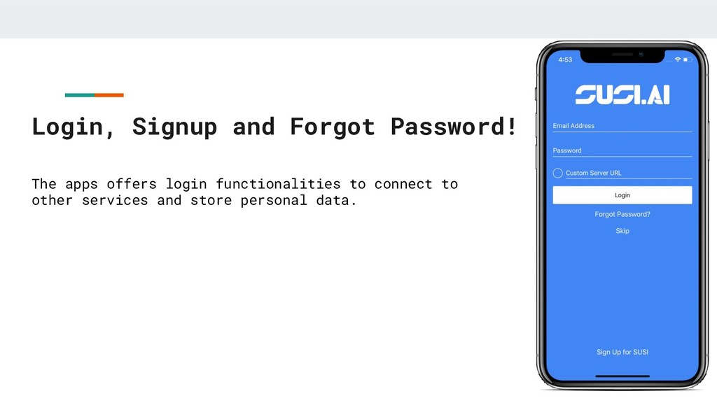 Login, Signup and Forgot Password! The apps off...