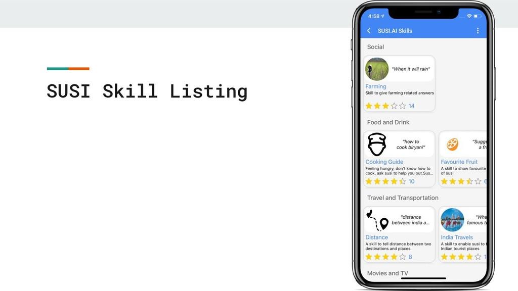 SUSI Skill Listing
