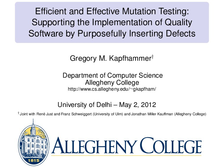 Efficient and Effective Mutation Testing: Suppor...