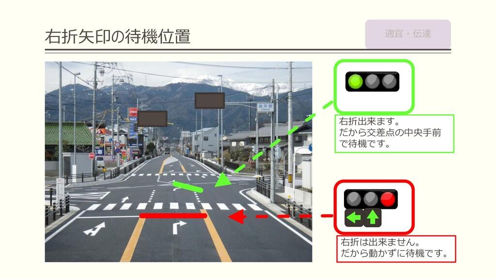 右折矢印の待機位置 右折は出来ません。 だから動かずに待機です。 右折出来ます。 だから交差点...