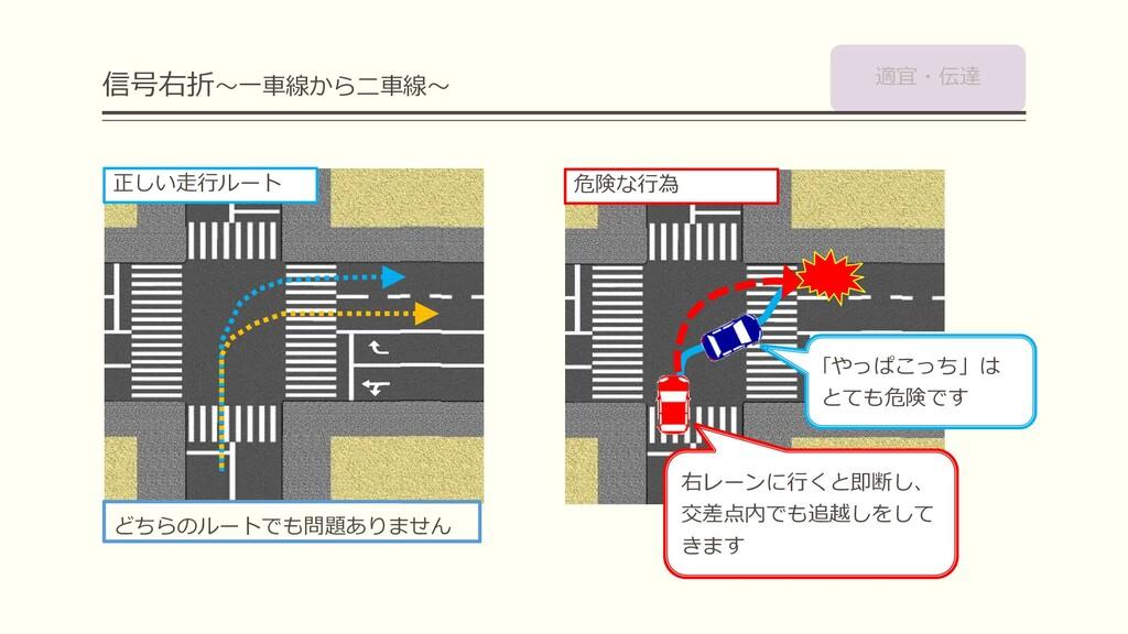 信号右折~一車線から二車線~ どちらのルートでも問題ありません 右レーンに行くと即断し、 交差...