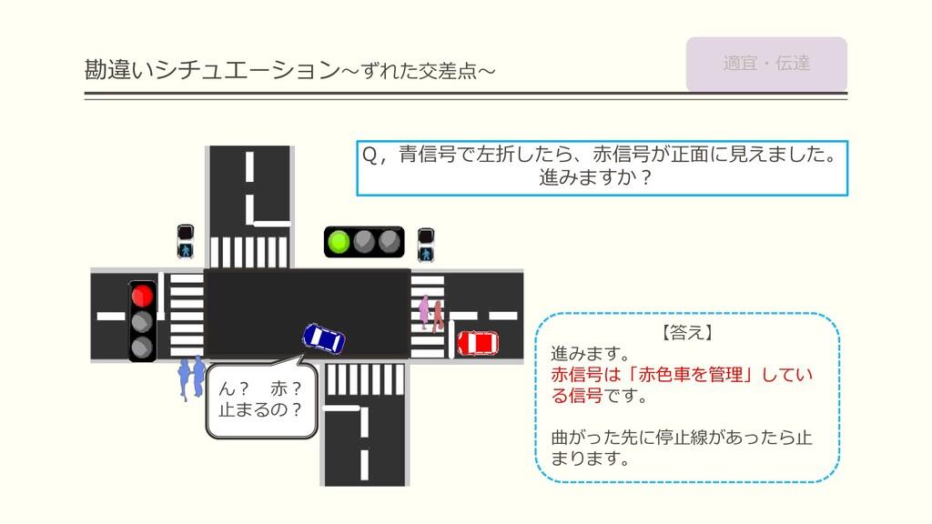 勘違いシチュエーション~ずれた交差点~ ん? 赤? 止まるの? 【答え】 進みます。 赤信号は...