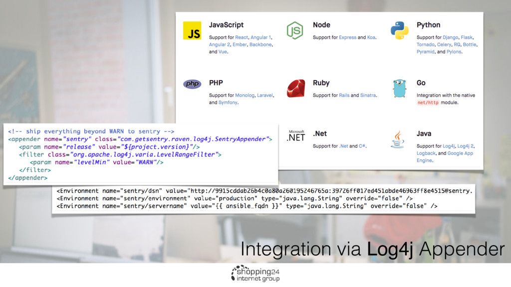 Integration via Log4j Appender