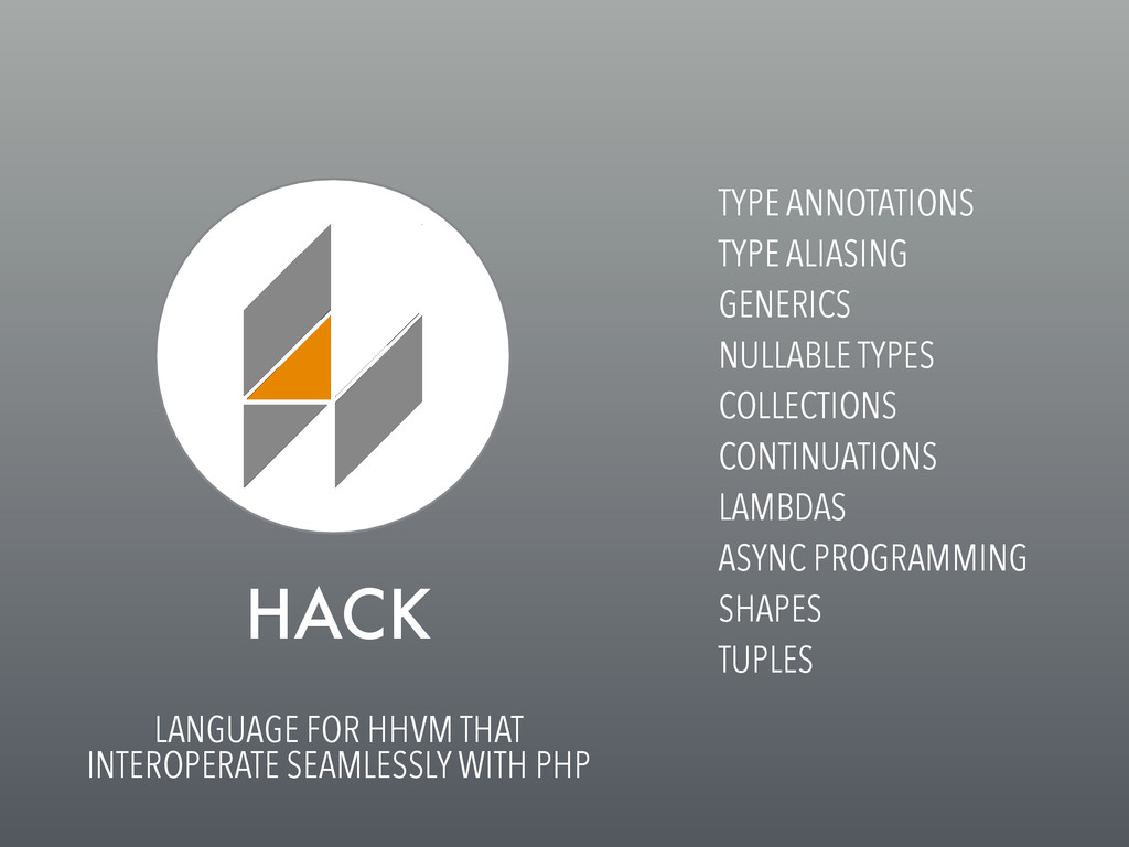 HACK LANGUAGE FOR HHVM THAT INTEROPERATE SEAMLE...