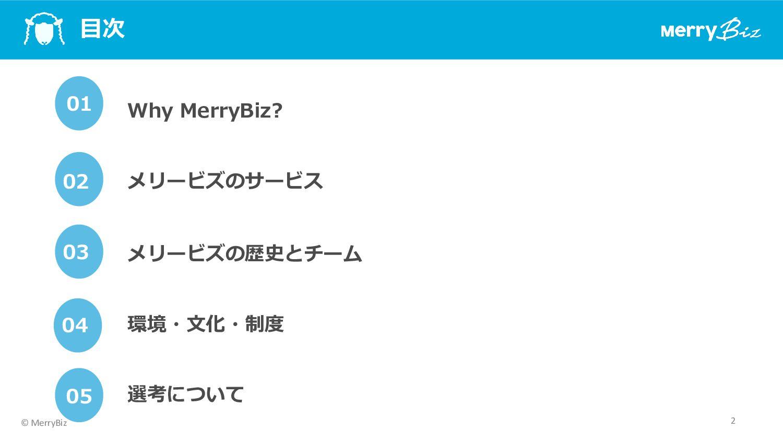 MerryBiz 会社概要 社名 メリービズ株式会社 設⽴ 2011年7⽉4⽇ 資本⾦(準備⾦...