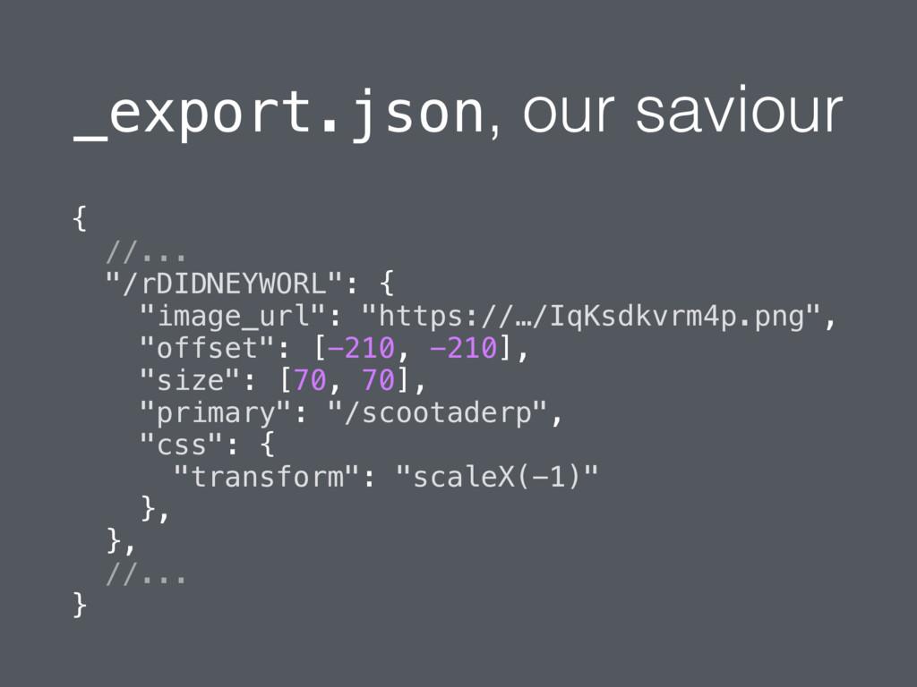"""_export.json, our saviour { //... """"/rDIDNEYWORL..."""